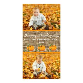 Serapilheira feliz da acção de graças 2 fotos - cartão com foto