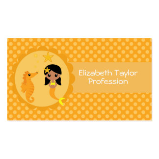 Sereia bonito na laranja cartão de visita