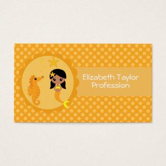 Sereia bonito na laranja cartão de visitas