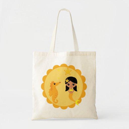 Sereia bonito na laranja bolsas para compras