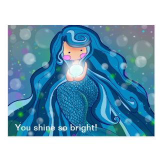 Sereia com o cartão brilhante da pérola cartão postal