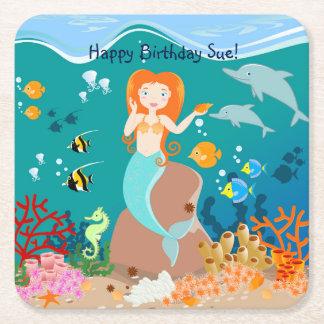 Sereia e festa de aniversário dos golfinhos porta-copo de papel quadrado