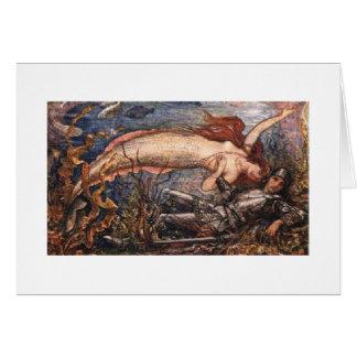 Sereia e soldado submarinos cartão