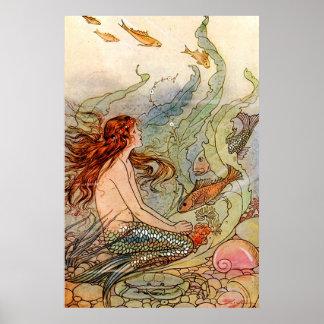 Sereia Ilustration das belas artes Poster