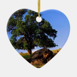 Serra montes das árvores de Nevada Ornamento De Cerâmica Coração