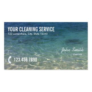 Serviço azul profissional da limpeza do oceano modelos cartoes de visitas