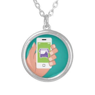 Serviço de autocarros da aplicação de Smartphone Colar Banhado A Prata