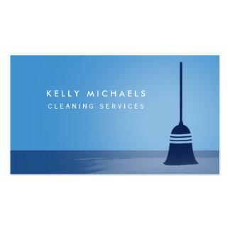 Serviços elegantes da limpeza da vassoura azul cartão de visita
