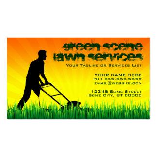 serviços verdes do gramado da cena cartões de visita