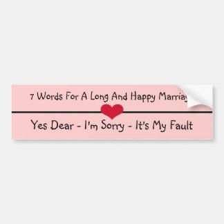 Sete palavras para um casamento longo e feliz adesivo para carro