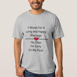 Sete palavras para um casamento longo e feliz camiseta