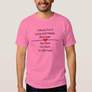 Sete palavras para um casamento longo e feliz tshirt