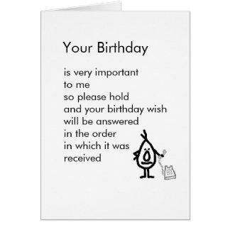 Seu aniversário cartão comemorativo