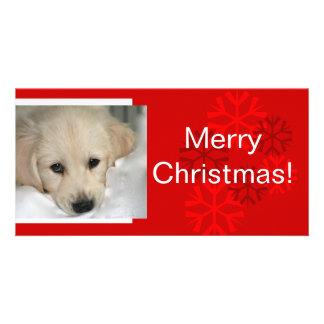 Seu cartão de Natal do floco de neve da foto do cã Cartão Com Foto