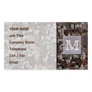 Seu monograma da letra. Imagem da madeira e do Cartão De Visita