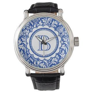 Seu monograma William Morris azul e branco Relogios De Pulso