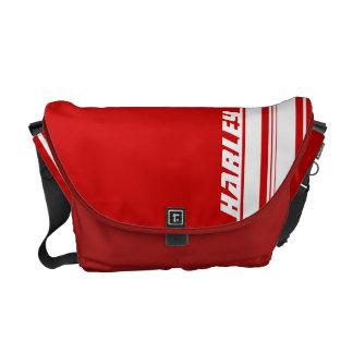 """""""seu"""" saco vermelho e branco conhecido da listra d bolsas mensageiro"""