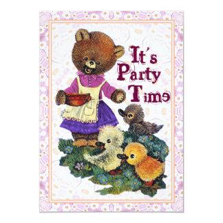 Seu tempo do partido para ursos de ursinho convida convite 12.7 x 17.78cm