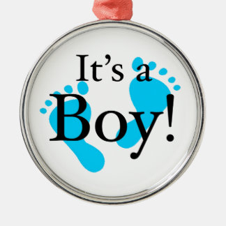 Seu um menino - bebê, recém-nascido, celebração ornamento redondo cor prata