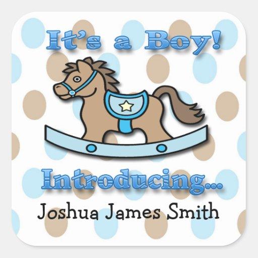 Seu um selo do envelope do anúncio do cavalo de adesivo quadrado