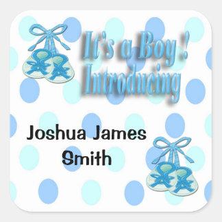 Seu um selo do envelope do anúncio do nascimento adesivo quadrado