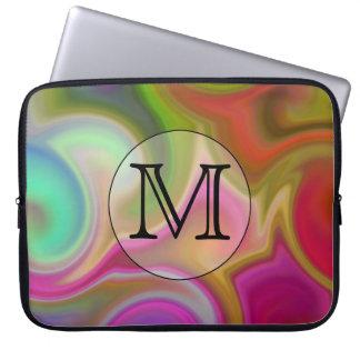 Seus letra, redemoinhos coloridos e monograma feit bolsa e capa para computadore