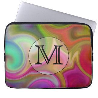 Seus letra, redemoinhos coloridos e monograma feit capa para laptop