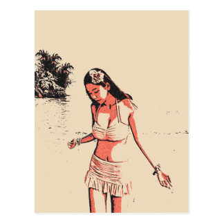 """""""sexy"""" na praia, borracho quente do biquini, cartão postal"""