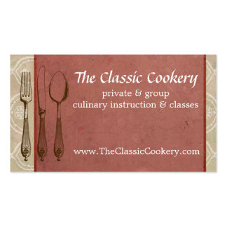 Shabby chic vintage fork knife spoon chef catering business card templates