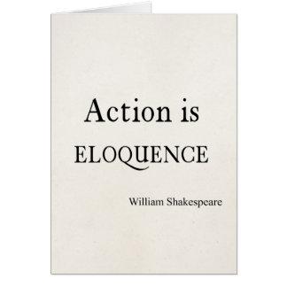 Shakespeare personalizou a ação das citações é cartão de nota