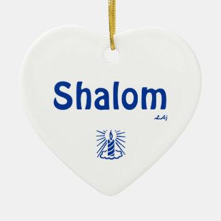 Shalom e azul claro do ornamento do coração no