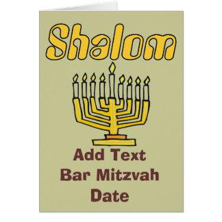 SHALOM: O bar Mitzvah, edita o texto Cartão Comemorativo