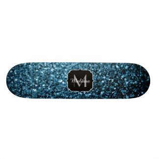 Shape De Skate 18,4cm Monograma bonito dos sparkles do brilho dos azuis