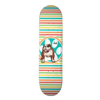 Shape De Skate 21,6cm Buldogue; Listras brilhantes do arco-íris