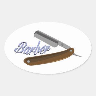 Shave do barbeiro adesivos em formato oval