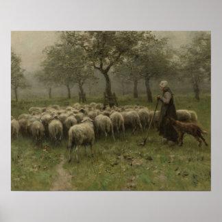 Shepherdess com um rebanho dos carneiros malva de pôsteres