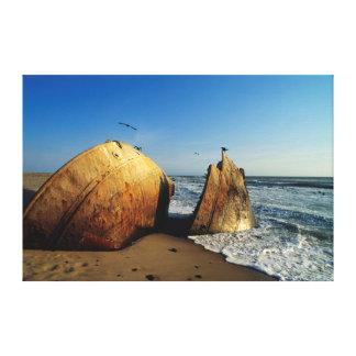 Shipwreck na praia, costa de esqueleto, Namíbia Impressão Em Tela