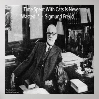Sigmund Freud no escritório & no poster famoso das