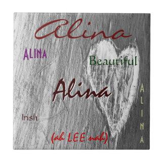 Significado irlandês conhecido de Alina com luz -  Azulejo De Cerâmica