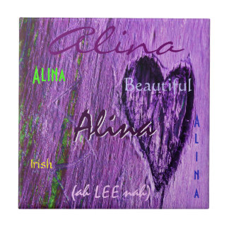 Significado irlandês conhecido de Alina com Purple Azulejo Quadrado Pequeno
