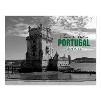 Silhueta 3% pipe% Torre Belém da torre de Belém do Cartão Postal