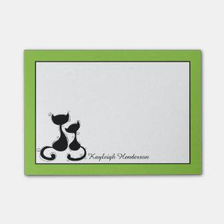 Silhueta branca dos gatos pretos do limão personal sticky notes