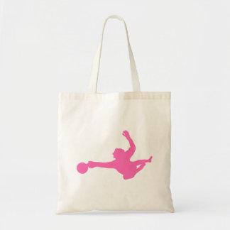Silhueta cor-de-rosa do Goalie do futebol Bolsas