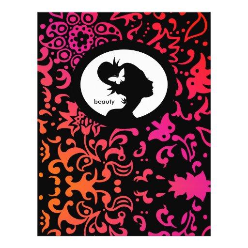 Silhueta da mulher da borboleta do salão de beleza panfletos personalizado