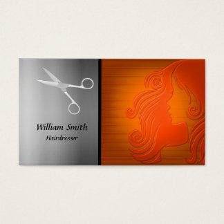 Silhueta da mulher do cabelo do cabeleireiro cartão de visitas