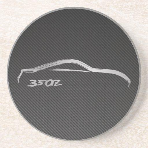 Silhueta de prata de Nissan 350z com carbono do fa Porta-copos