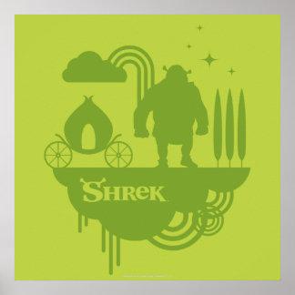 Silhueta do conto de fadas de Shrek Pôster
