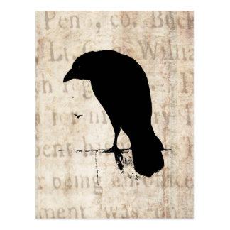 Silhueta do corvo - corvos retros & corvos do cartão postal