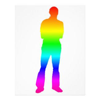 Silhueta do homem do arco-íris papel timbrado