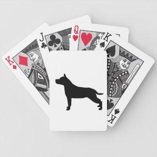 Silhueta do preto do cão de Staffordshire Terrie d Jogos De Cartas